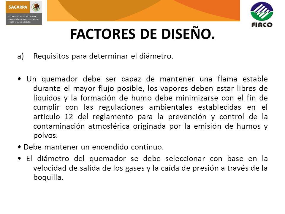 FACTORES DE DISEÑO. Requisitos para determinar el diámetro.