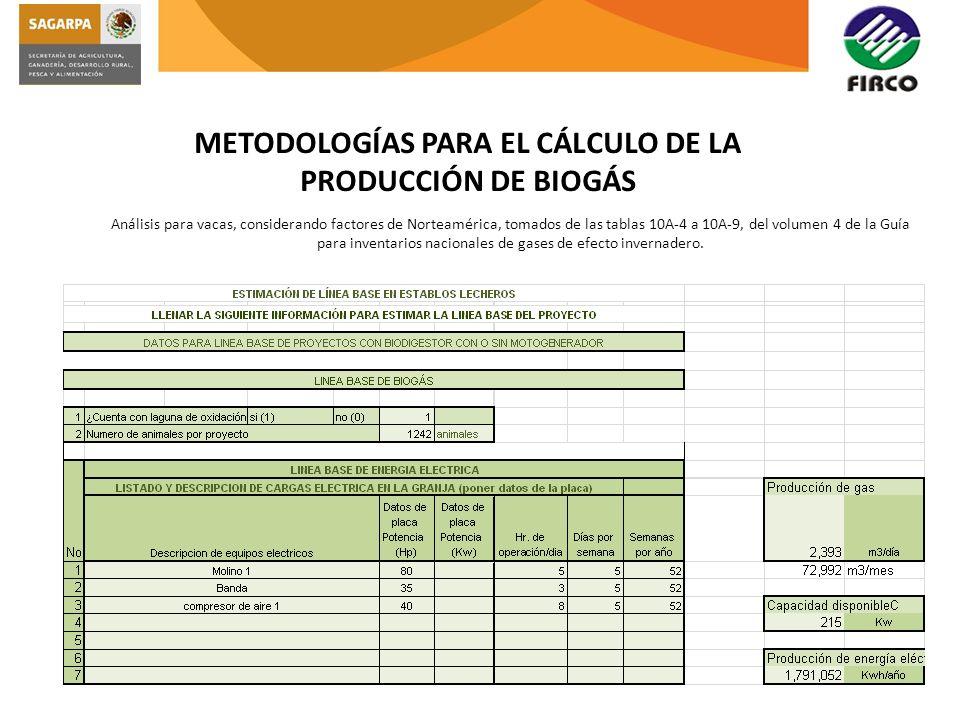 METODOLOGÍAS PARA EL CÁLCULO DE LA PRODUCCIÓN DE BIOGÁS