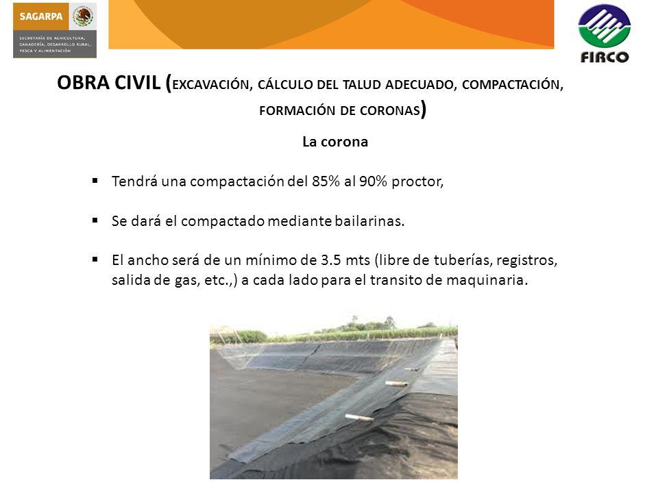 OBRA CIVIL (EXCAVACIÓN, CÁLCULO DEL TALUD ADECUADO, COMPACTACIÓN,