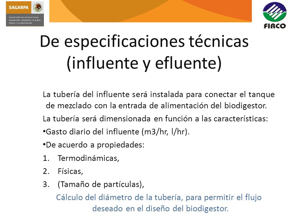 De especificaciones técnicas (influente y efluente)