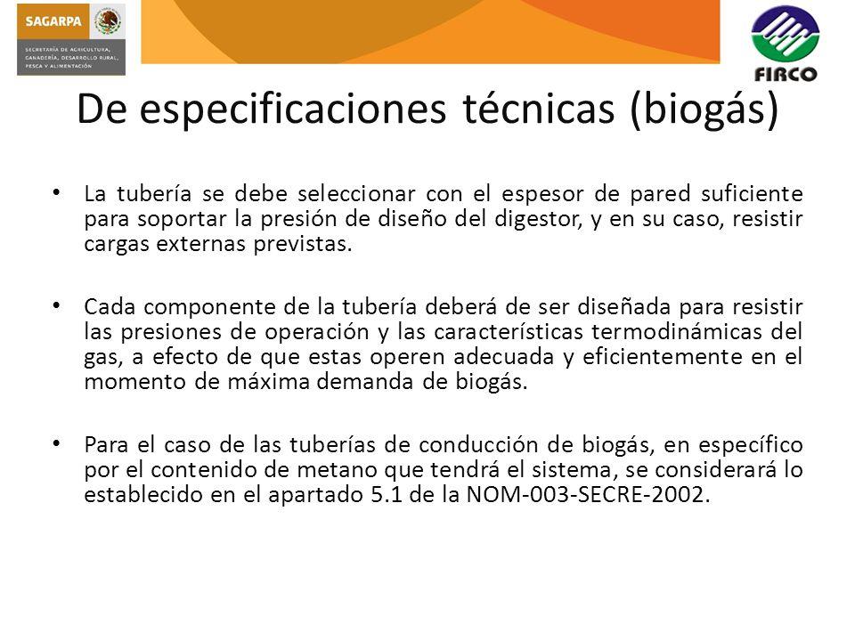 De especificaciones técnicas (biogás)