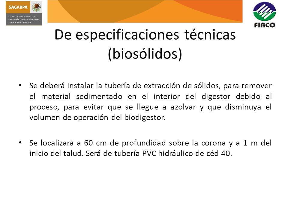 De especificaciones técnicas (biosólidos)