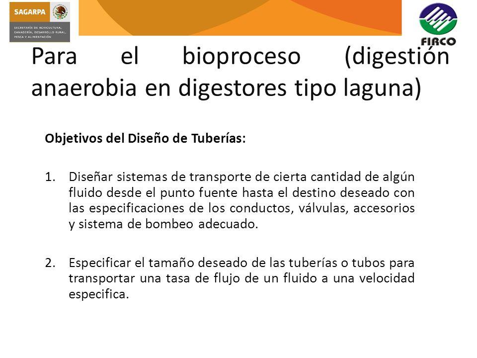 Para el bioproceso (digestión anaerobia en digestores tipo laguna)