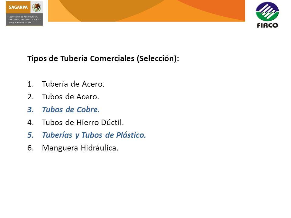 Tipos de Tubería Comerciales (Selección):