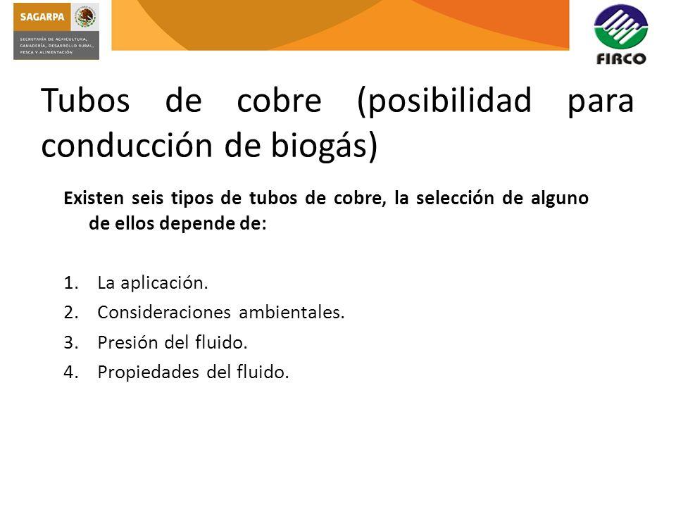 Tubos de cobre (posibilidad para conducción de biogás)