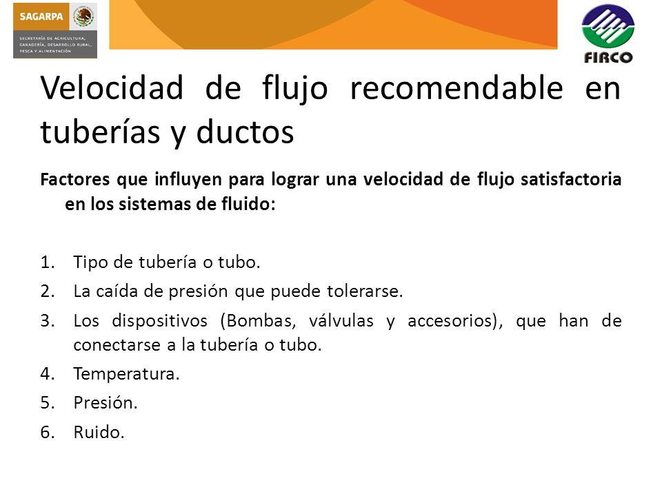Velocidad de flujo recomendable en tuberías y ductos
