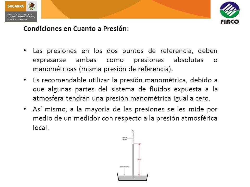 Condiciones en Cuanto a Presión: