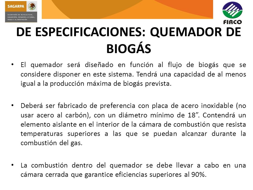 DE ESPECIFICACIONES: QUEMADOR DE BIOGÁS