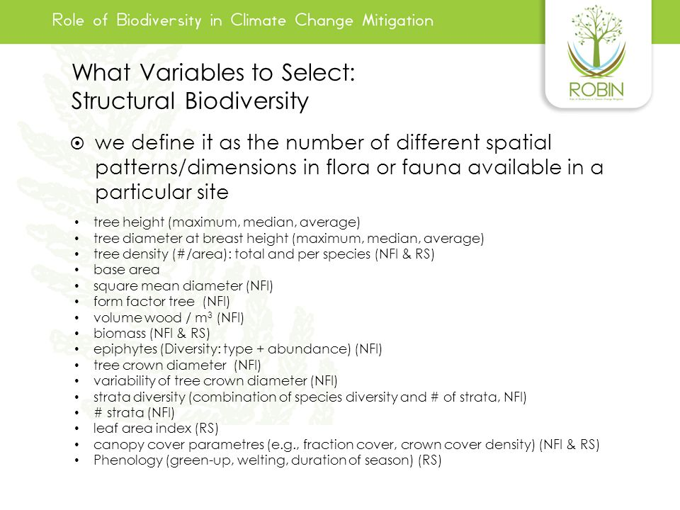 What Variables to Select: Structural Biodiversity