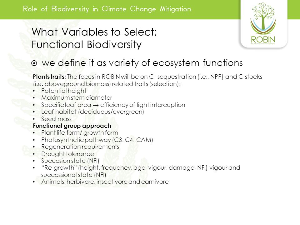 What Variables to Select: Functional Biodiversity