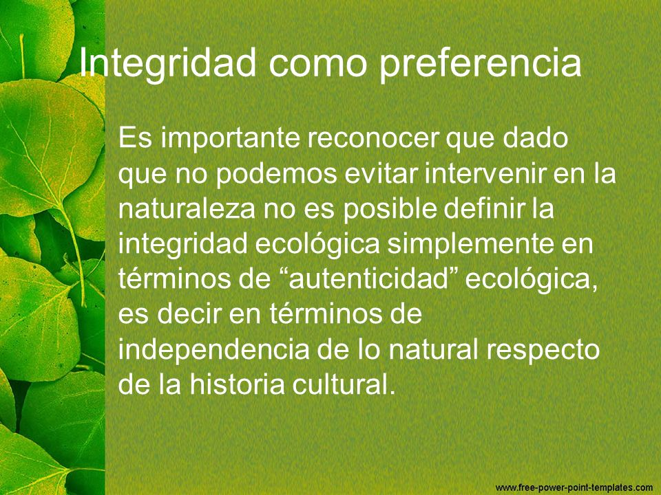 Integridad como preferencia
