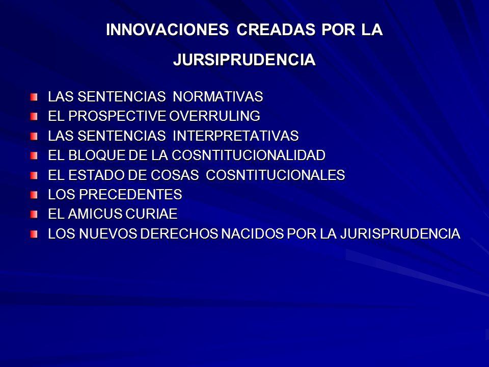 INNOVACIONES CREADAS POR LA JURSIPRUDENCIA