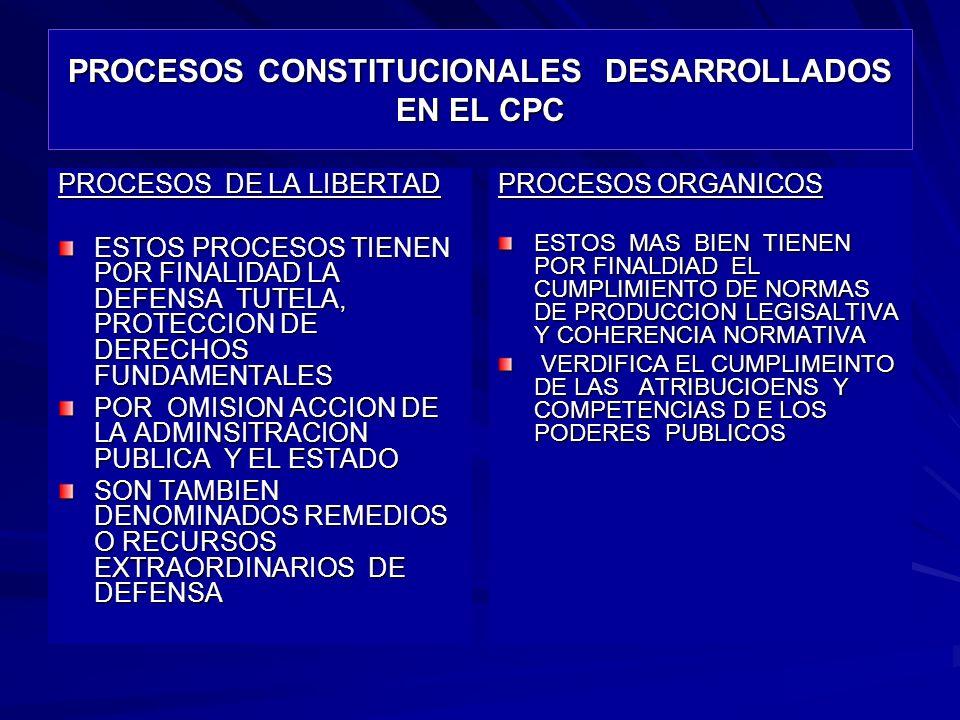 PROCESOS CONSTITUCIONALES DESARROLLADOS EN EL CPC