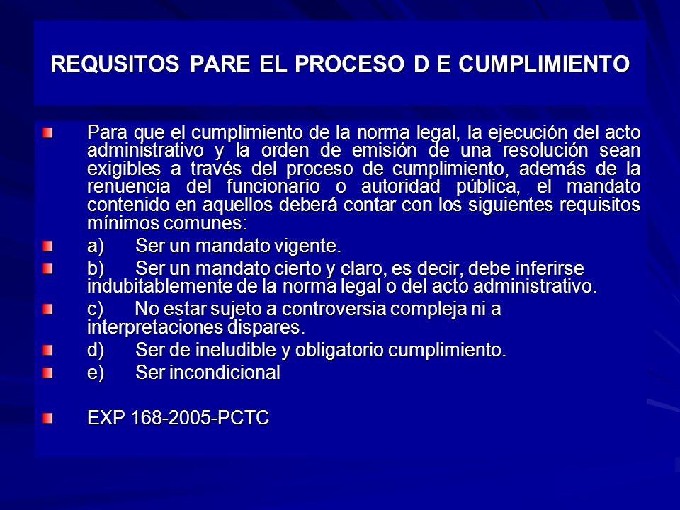 REQUSITOS PARE EL PROCESO D E CUMPLIMIENTO