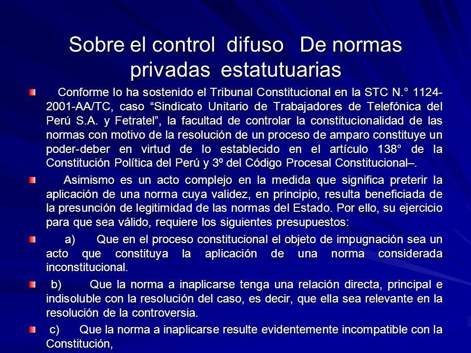 Sobre el control difuso De normas privadas estatutuarias