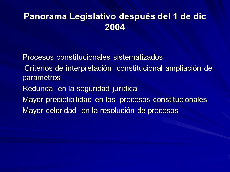 Panorama Legislativo después del 1 de dic 2004