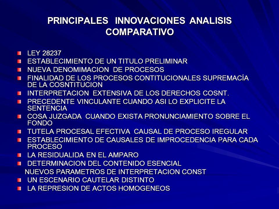 PRINCIPALES INNOVACIONES ANALISIS COMPARATIVO