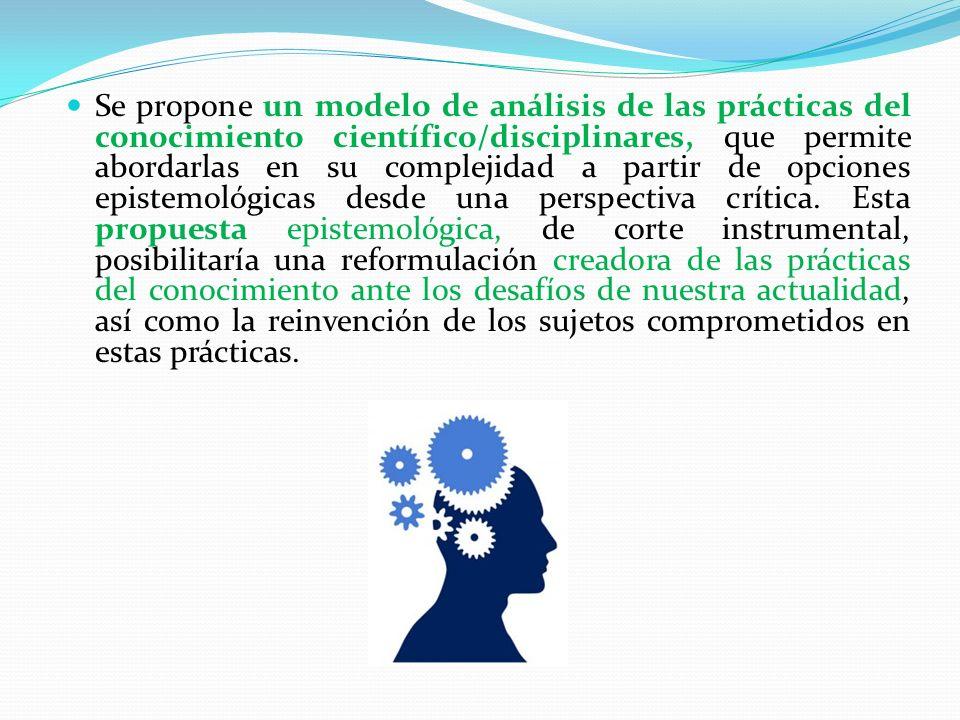Se propone un modelo de análisis de las prácticas del conocimiento científico/disciplinares, que permite abordarlas en su complejidad a partir de opciones epistemológicas desde una perspectiva crítica.