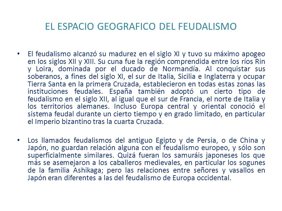 EL ESPACIO GEOGRAFICO DEL FEUDALISMO