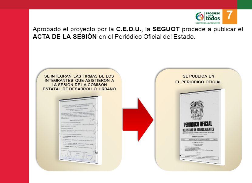 7 Aprobado el proyecto por la C.E.D.U., la SEGUOT procede a publicar el ACTA DE LA SESIÓN en el Periódico Oficial del Estado.
