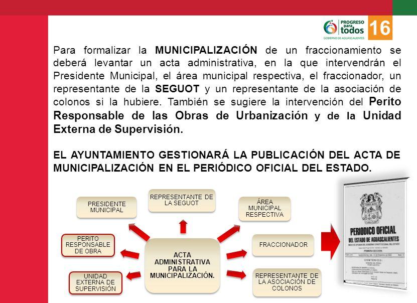 ACTA ADMINISTRATIVA PARA LA MUNICIPALIZACIÓN.