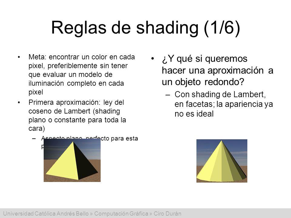 Reglas de shading (1/6) Meta: encontrar un color en cada pixel, preferiblemente sin tener que evaluar un modelo de iluminación completo en cada pixel.