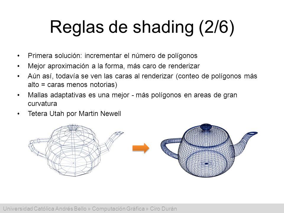 Reglas de shading (2/6) Primera solución: incrementar el número de polígonos. Mejor aproximación a la forma, más caro de renderizar.
