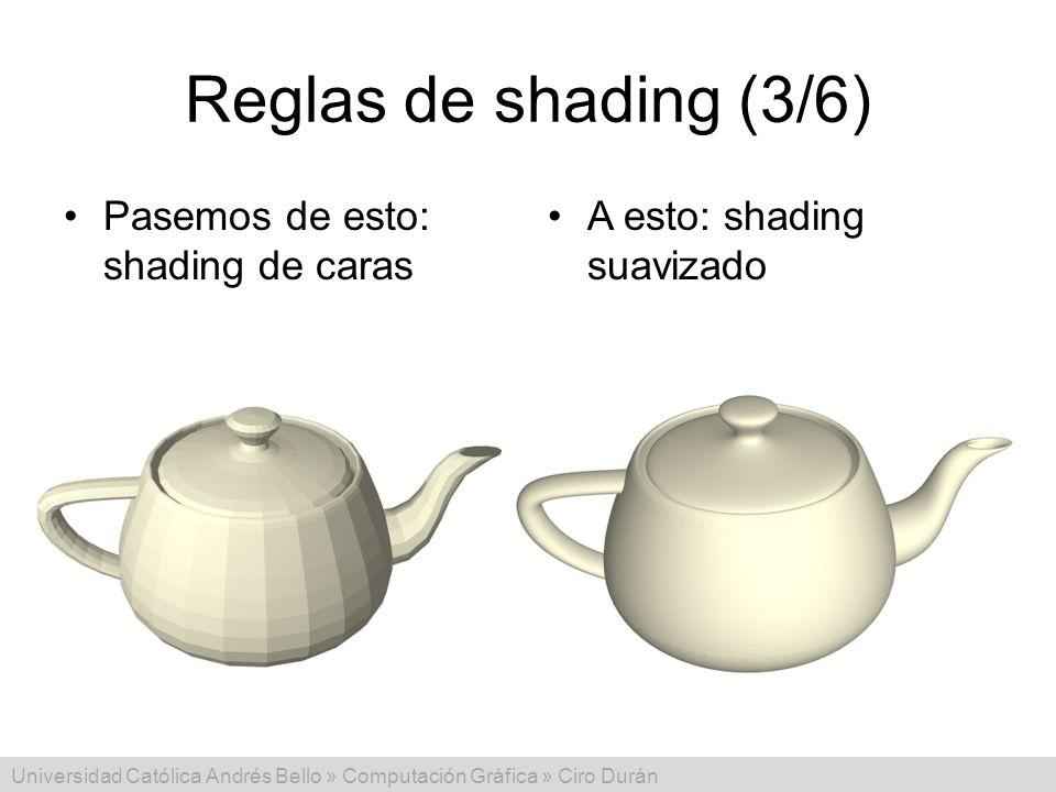 Reglas de shading (3/6) Pasemos de esto: shading de caras