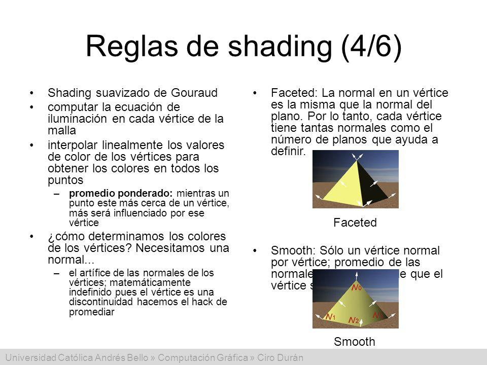 Reglas de shading (4/6) Shading suavizado de Gouraud