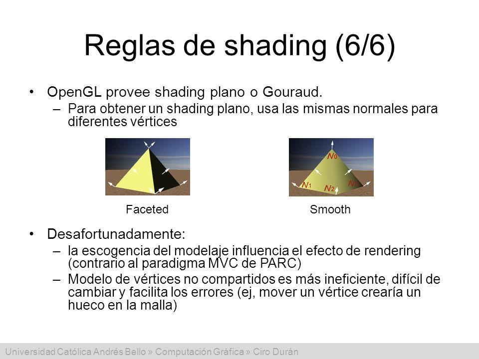 Reglas de shading (6/6) OpenGL provee shading plano o Gouraud.