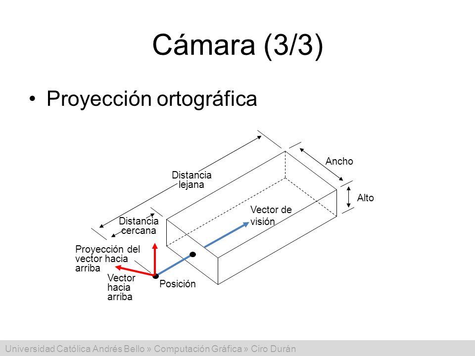 Cámara (3/3) Proyección ortográfica Ancho Distancia lejana Alto