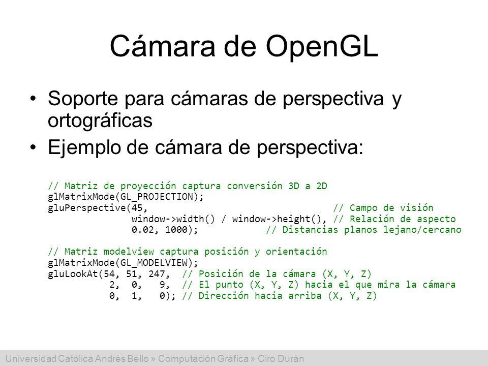 Cámara de OpenGL Soporte para cámaras de perspectiva y ortográficas