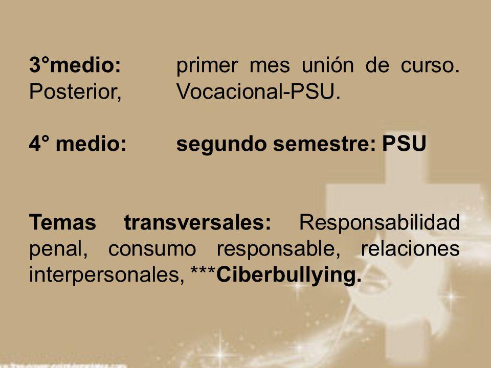3°medio: primer mes unión de curso. Posterior, Vocacional-PSU.