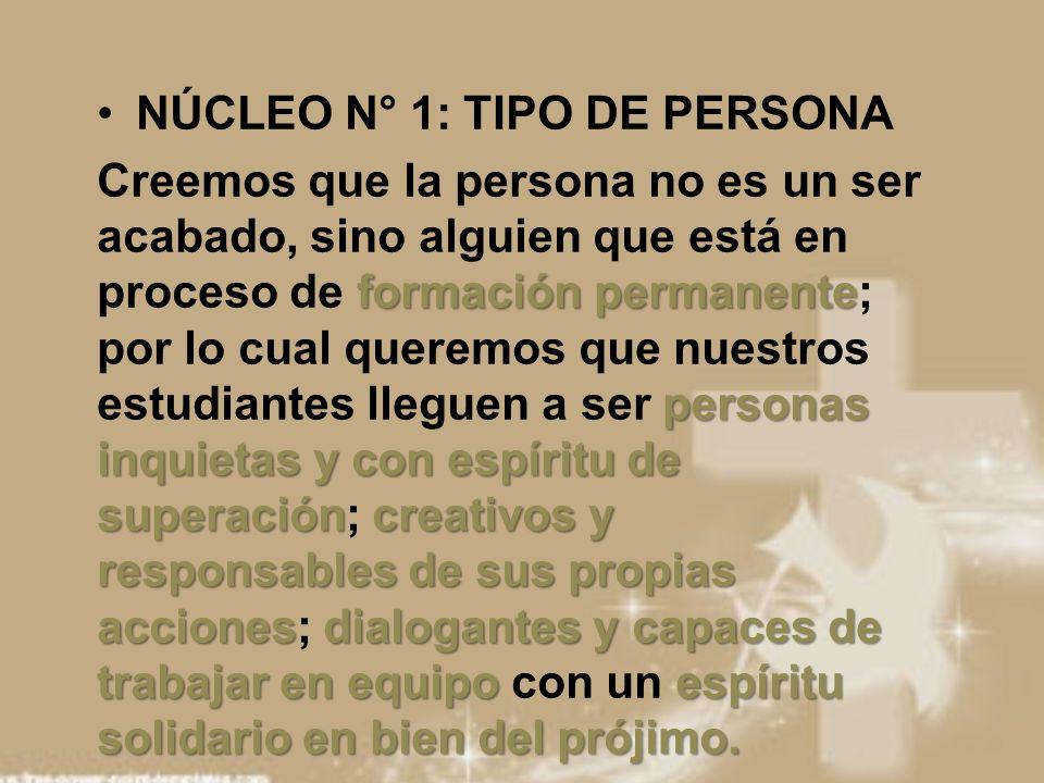 NÚCLEO N° 1: TIPO DE PERSONA