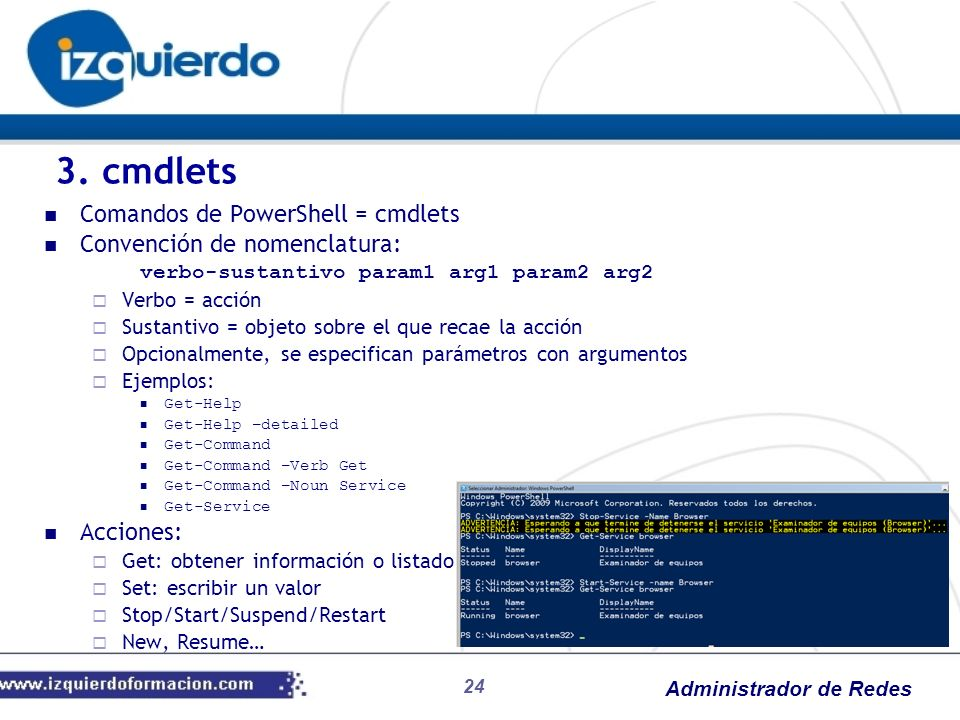 3. cmdlets Comandos de PowerShell = cmdlets