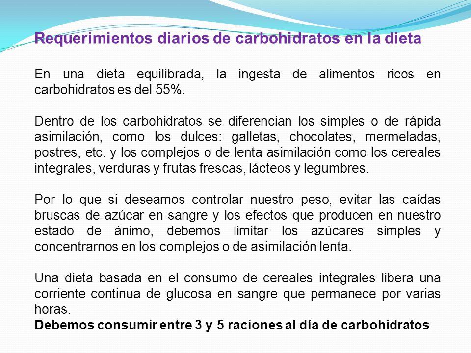 Requerimientos diarios de carbohidratos en la dieta