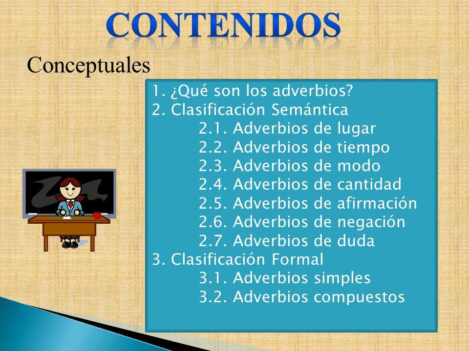 CONTENIDOS Conceptuales 1. ¿Qué son los adverbios