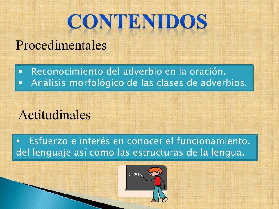 CONTENIDOS Procedimentales Actitudinales