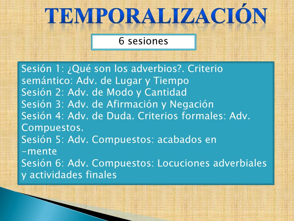 temporalización 6 sesiones