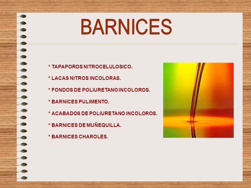 BARNICES * TAPAPOROS NITROCELULOSICO. * LACAS NITROS INCOLORAS.