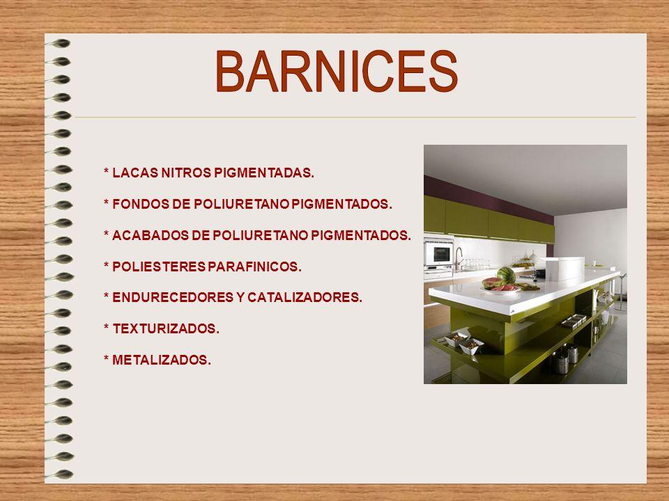 BARNICES * LACAS NITROS PIGMENTADAS.