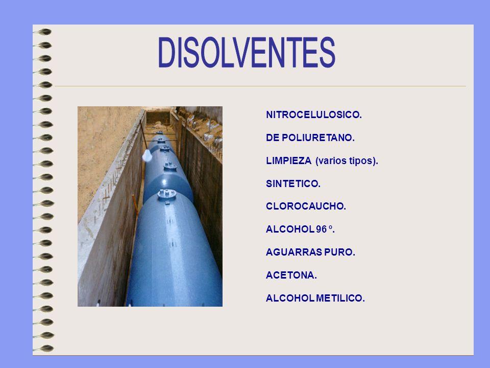 DISOLVENTES NITROCELULOSICO. DE POLIURETANO. LIMPIEZA (varios tipos).