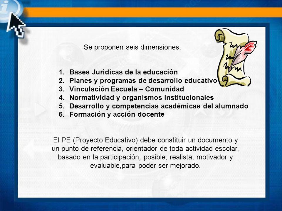 El PE (Proyecto Educativo) debe constituir un documento y