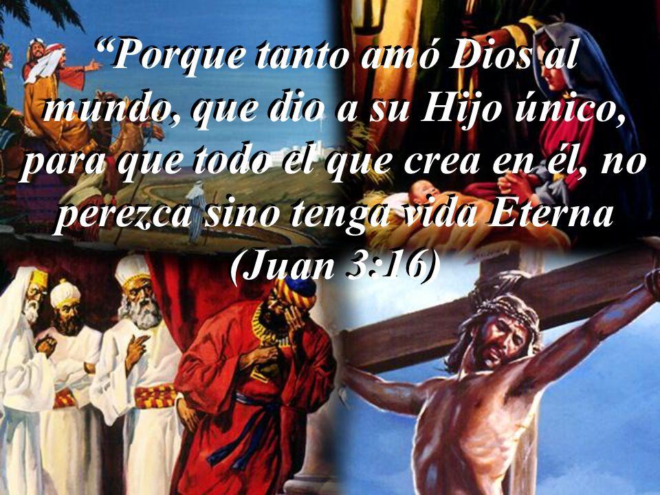 Porque tanto amó Dios al mundo, que dio a su Hijo único, para que todo el que crea en él, no perezca sino tenga vida Eterna (Juan 3:16)