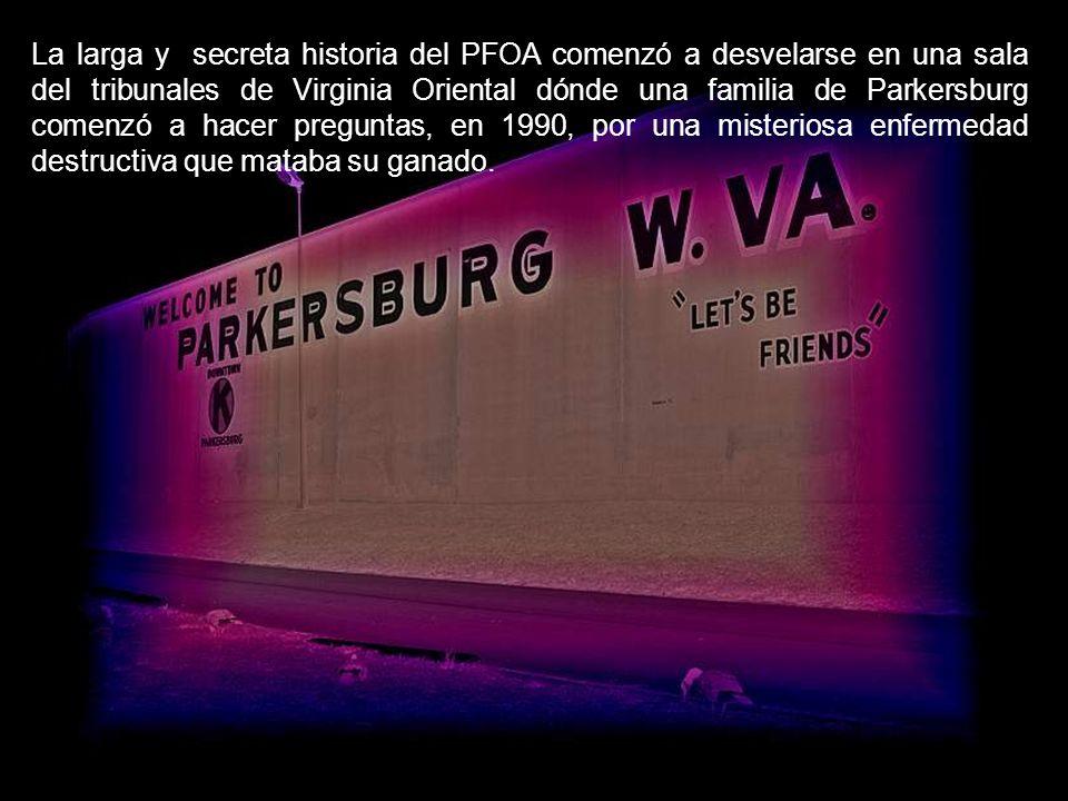 La larga y secreta historia del PFOA comenzó a desvelarse en una sala del tribunales de Virginia Oriental dónde una familia de Parkersburg comenzó a hacer preguntas, en 1990, por una misteriosa enfermedad destructiva que mataba su ganado.