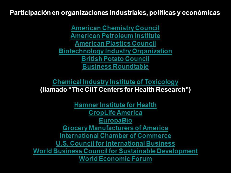 Participación en organizaciones industriales, políticas y económicas