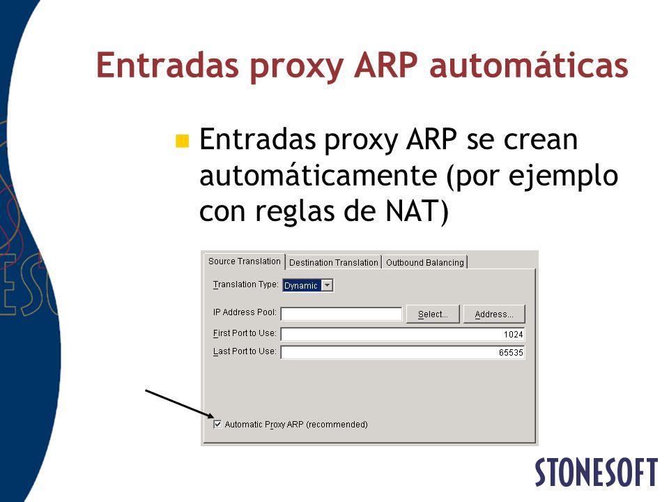 Entradas proxy ARP automáticas