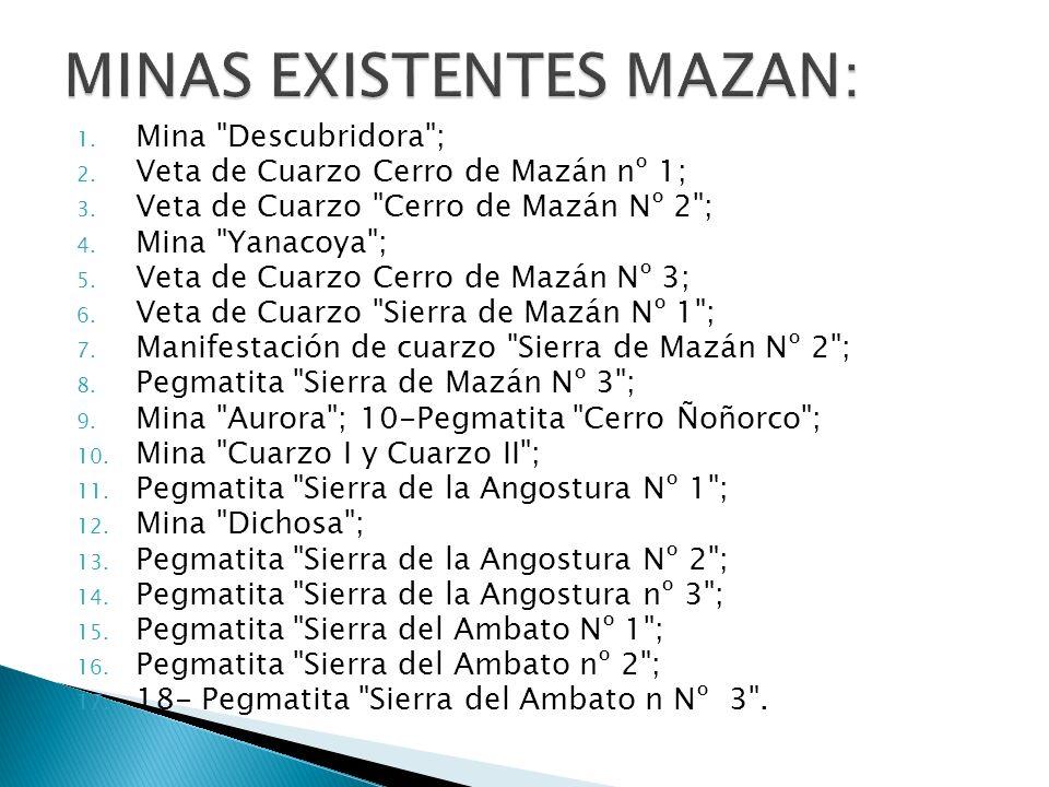 MINAS EXISTENTES MAZAN: