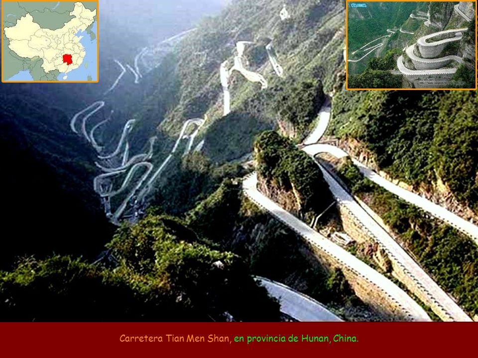 Carretera Tian Men Shan, en provincia de Hunan, China.
