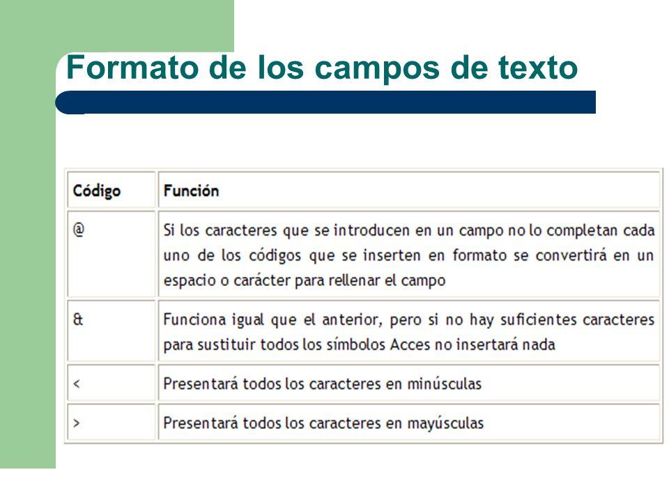 Formato de los campos de texto